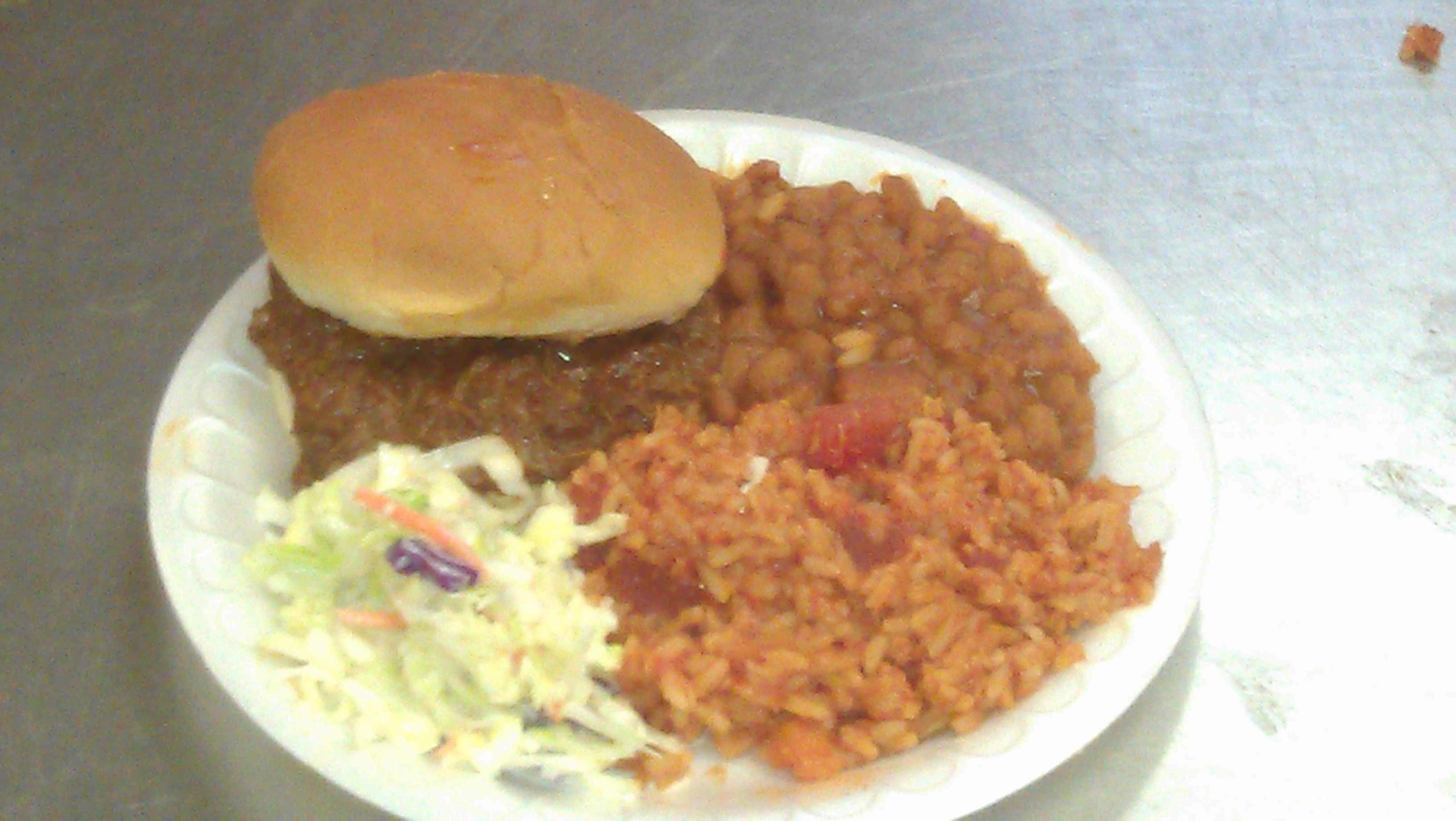 LOH 2013-05-14r Barbeque on a bun, baked beans, cole slaw
