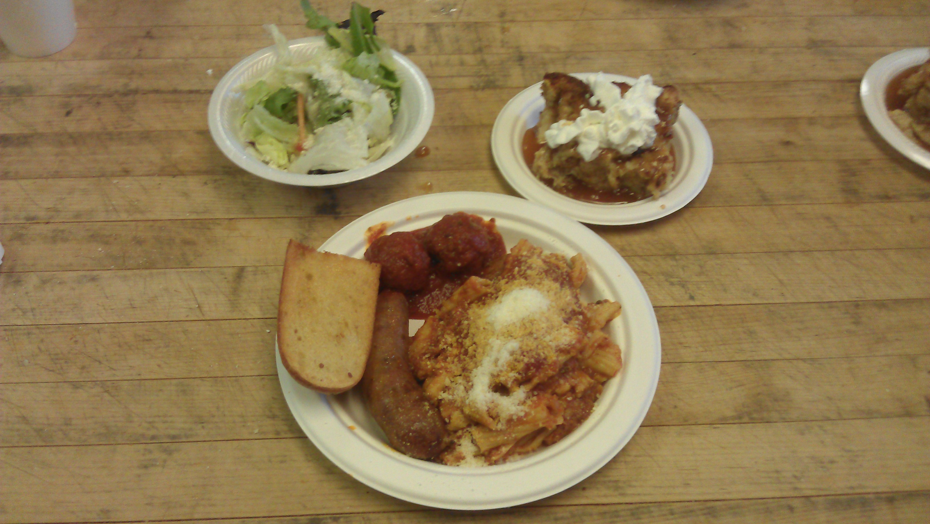 LOH 2014-02-11 Baked pasta sausage meatballs garlic bread salad bread pudding