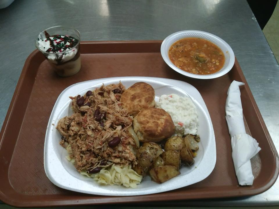 LOH 2017-12-12 White Chicken chili over noodles, roasted potatoes, biscuits, tiramisu