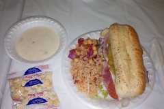 LOH 2015-03-23 Hoagy rice garbanzo salad clam chowder
