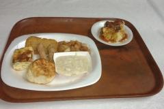 LOH 2017-07-11 Fritatta biscuit sausage gravy apples bread pudding