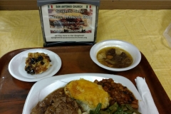 LOH 2017-08-22 Open face roast beef, onion soup, 2x baked potato, pasta salad, green beans, baked beans, bread pudding
